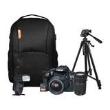Kit Camara Canon T6 Con Lentes 18-55 Y 75-300 + 4 Accesorios