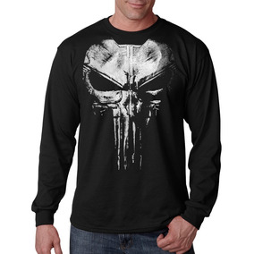 Camiseta Punisher Justiceiro Manga Comprida Longa Camisa