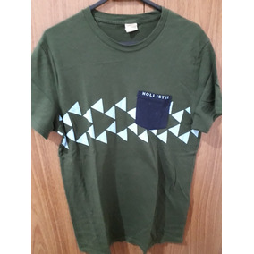 e3e198a7883 Camiseta Hollister Original Maculina Tamanho P Verde Bolso