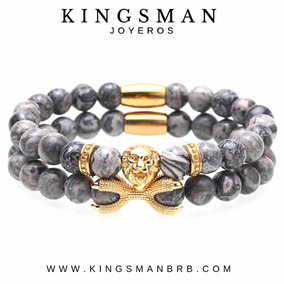 Set Pulseras Hombre Kingsman Leon Moda 2019 Grey Jasper Lujo