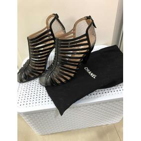 Sapato Sandália Chanel Preta Tiras Original Tam 36