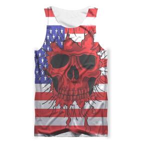 dd31ae0a63 Camiseta Regata 3d Full Caveira Cranio Skull Estados Unidos