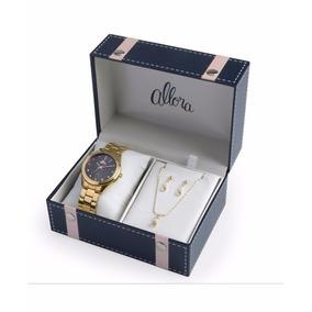 Kit Relógio Allora Feminino Pérolas E Cristais - Al2035fbw