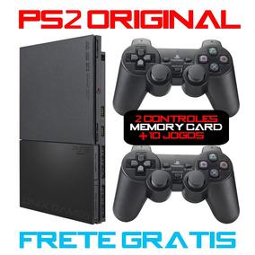 Playstation 2 Destravado Ps2 Original 2 Controles 10 Jogos