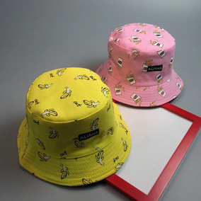 Kit 2 Bones Bucket Hat Chapeu Rosa Amarelo Dupla Face Moda 8af420656a2
