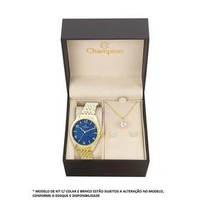 Relógio Champion Champion Fundo Azul C/ Kit Cn25172k