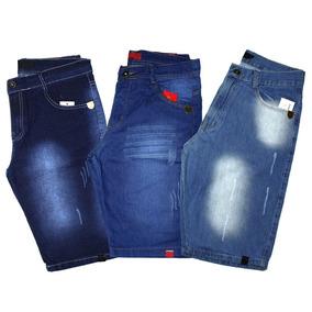 Kit 03 Bermudas Jeans Rasgada Masculina Slim Lycra Destroyed