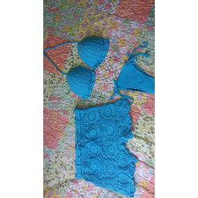 Biquini Conjunto Moda Praia Em Crochê