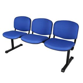 Tandem De 3 Sillas Tapizadas Sala Espera Tela Azul