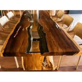 Mesa De Jantar Rustica De Madeira Nobre Maciça Com Vidro