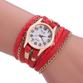 Reloj Mujer Doble Vuelta Cadena Cuero Vintage Varios Colores