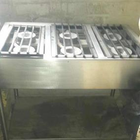 Estufa, Parrilla Industrial, 6 Quemadores Acero Inoxidable