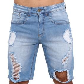 Bermuda Jeans Masculina Skinny Azul Rasgada Destroyed Lycra