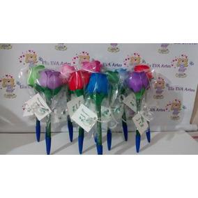 Canetas Decoradas Flor Em Eva Kit C/5 Unid