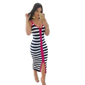 5abbe962d412 Vestido Listrado Midi - Vestidos Casuais Femininas em Guarulhos no ...