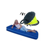 Colchon Inflable 1 Plaza + Inflador Pie Camping Pesca Caza
