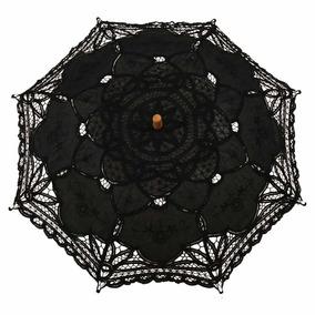 Paraguas Negro Victoriano Vintage Encaje Boda Novia