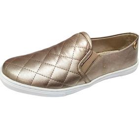 Tênis Slip On Feminino Quality Shoes Matelassê Dourado