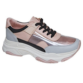 Tenis Gym Mujer Deportes Energia Rosa Gris Chunky 186419