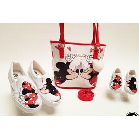 Tenis Mamá-hija Y Bolsa Miky Mouse