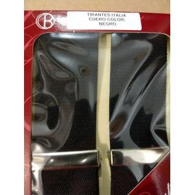 Tirantes Negro Caballero Con Cuero 100% Natural Italiano