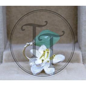 Anillo Jade Natural Flor Plata Esterlina 925 Ajustable