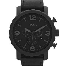 68dc77421481a Relógio Fossil Nate Chronograph Preto Couro Jr1354 - Relógios De ...