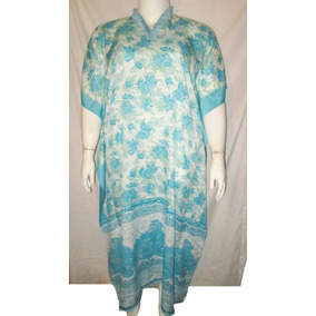 Vestido Tipo Tunica Azul Estampado Floral Talla 2x- Unitalla