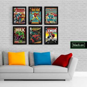 Kit 6 Poster A4 Quadro Moldura Retro Hq Marvel Dc Hero 30x20