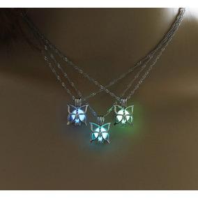 Hermoso Collar Brilla Oscuridad Mariposa Luminiscente