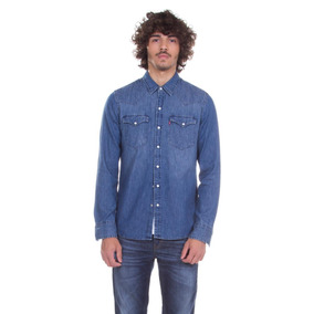 Camisa Levis Masculina Jeans Classic Western Azul Média 985bee28651