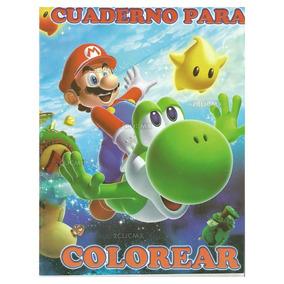 Libros Colorear Super Mario Bros Yoshi Estrella 16 Pg
