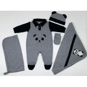 Kit Saída De Maternidade Cinza 5 Peças Luck Panda Menino