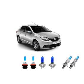 Kit Lampadas Farois + Milhas Super Branca Renault Logan 2015