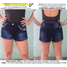 Roupas Femininas Short Jeans Lycra Rasgo Pedras Unli@ Shpm17