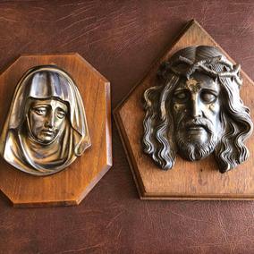 Arte Sacra Antigos Quadros Busto Escultura Cristo E Maria