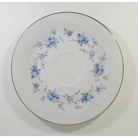 Platos De Té Porcelana Tsuji - Bordes En Plata - X Unidad