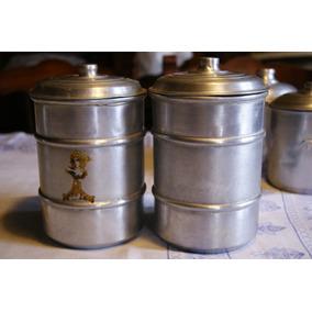 Lote De 5 Tarros De Aluminio Antiguos