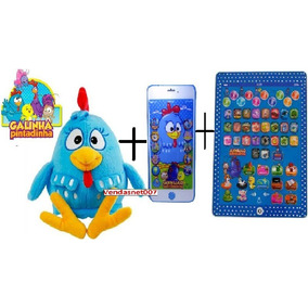 Tablet Infantil + Celular 3d + Pelucia Galinha Pintadinha 45