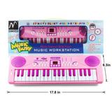 Piano Para Niña Rosa Multifuncion Juguete Luces M Sanmersen