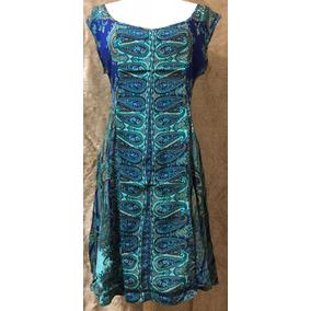 Vestido Falda Holgada Azul Con Verte Aqua, Manga Corta, Fino