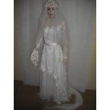 Vestido Noiva Antigo Com Veu Bouquet Tiara Tam Pp P Cfe Foto