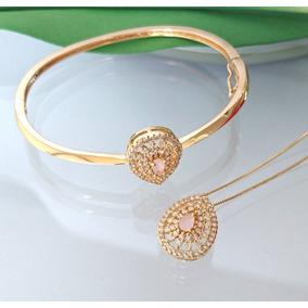 9c72176f628 Colar E Bracelete Feminino Gota Zircônia Rosa Banhado Ouro