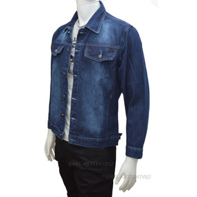 c8c3da7b929 Jaqueta Jeans Tradicional Masculino Malha Grossa Azul preta