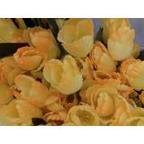 8 Flores Tulipanes Artificiales Color Amarillo