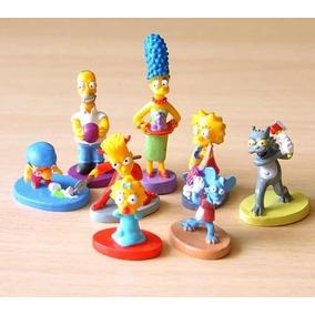8 Bonecos Miniaturas Simpsons Brinquedo Coleção Homer Bart