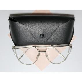 aa4b02cd3650a Óculos Espelhado Feminino Olho De Gato Gatinho Redondo Metal