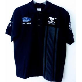 Playera Polo Ford Mustang 50 Años Negra Racing Caballero