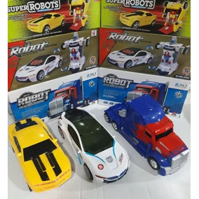 Kit 3 Carrinho Vira Robô Luz Som Transformers