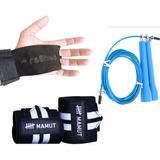 Kit Crossfit Corda Speed Rope +munhequeira Mamut + Hand Grip